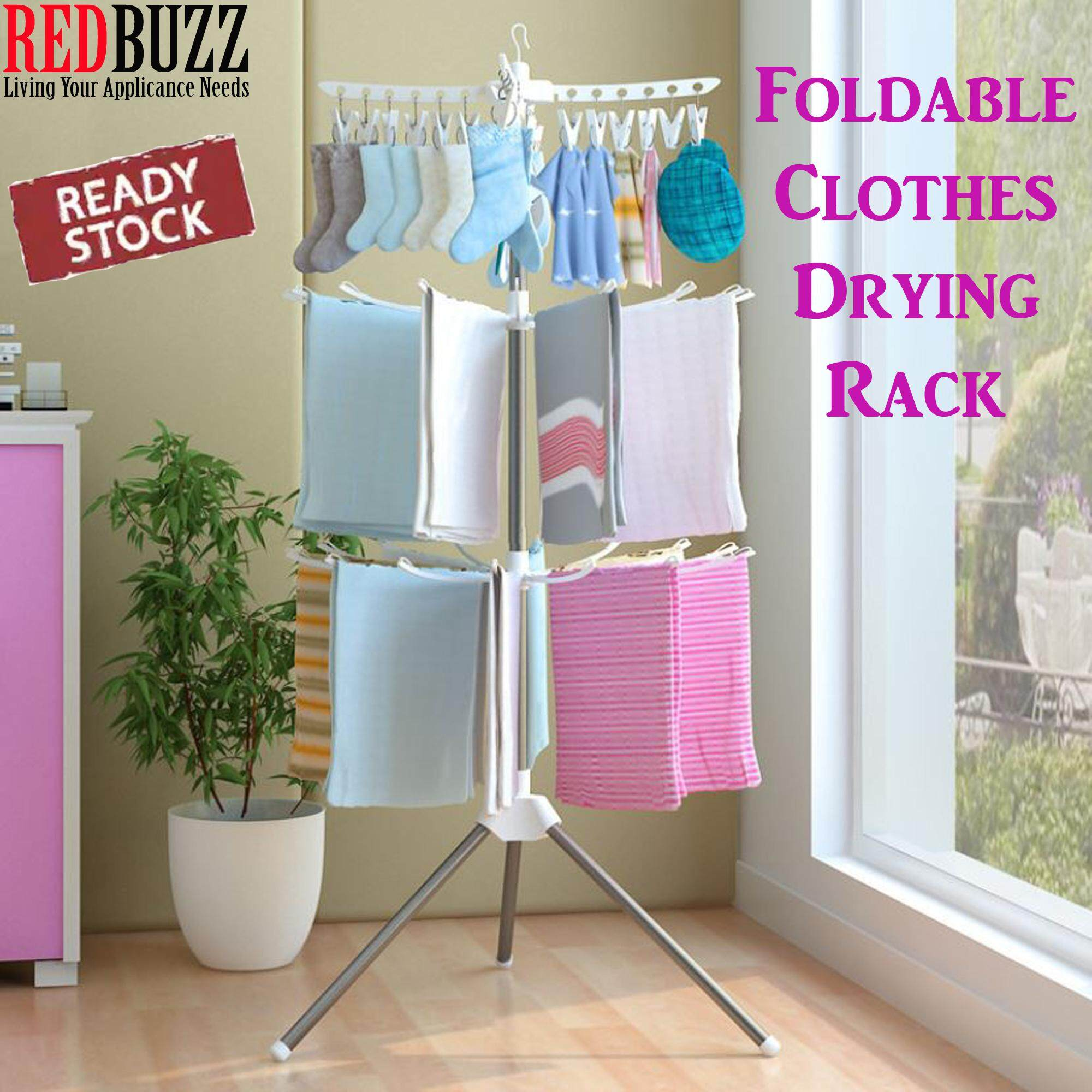 REDBUZZ 3 Tier Foldable Clothes Drying Rack Cloth Hanger Shelf Cloth Rack/ Ampaian Penyidai Baju