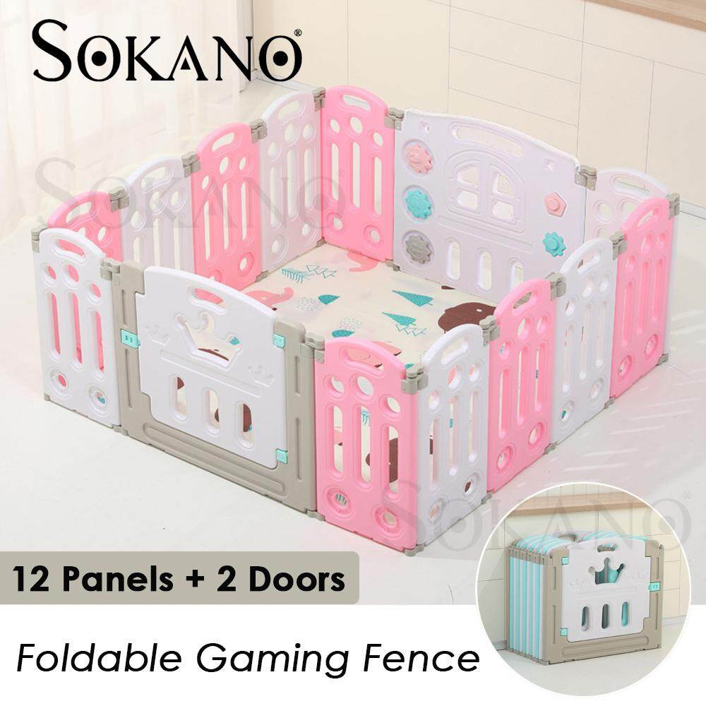 SOKANO 12 Panels+ 2 Doors Foldable Gaming Fence Baby Play Yard Playpen Baby Kid Safety Play Fence