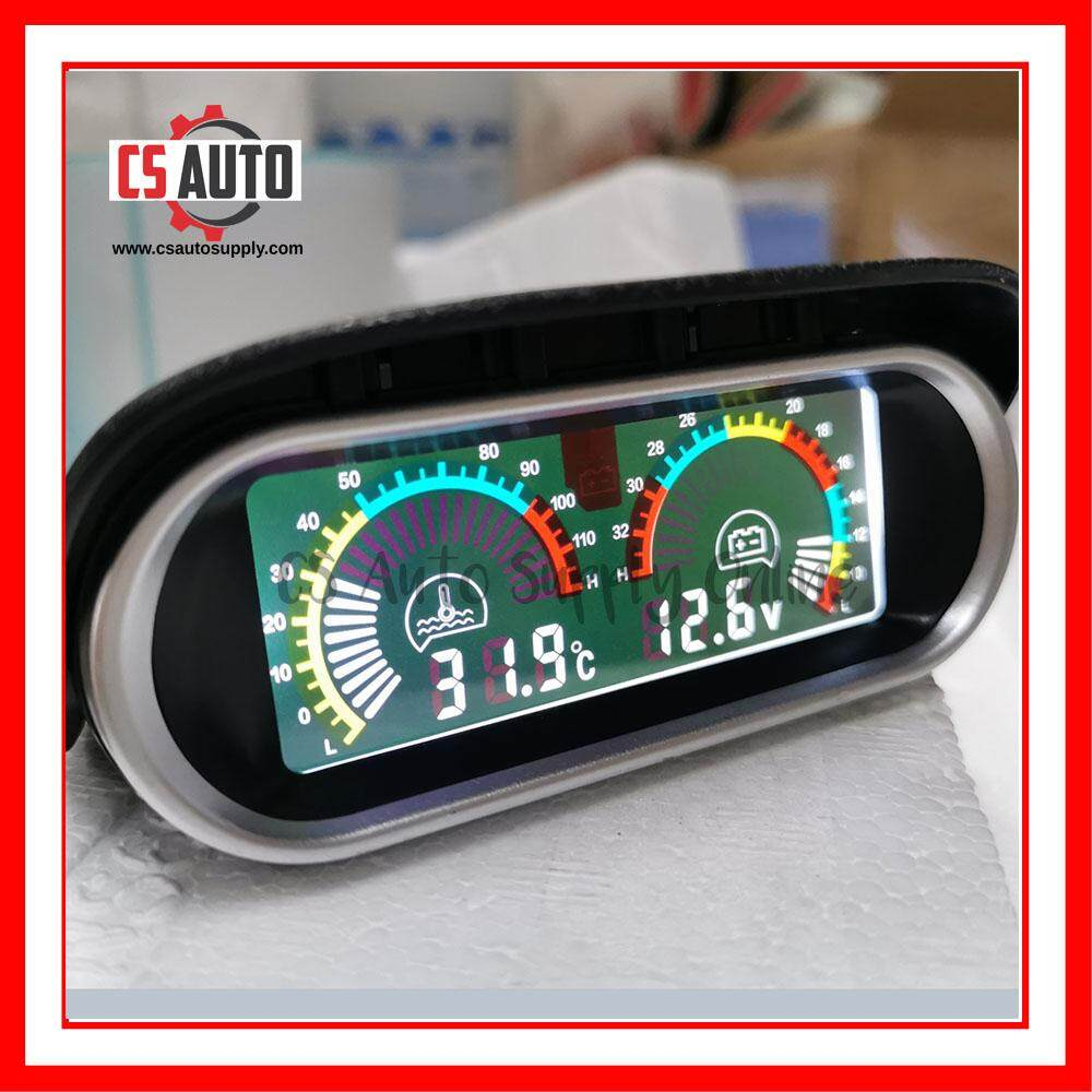 [cs auto] Car Truck Lorry Digital Water Temperature Gauge Voltmeter Meter Bunyi Buzzer Lcd Display 12V 24V High Accuracy 10mm sensor 0-120℃ Horizontal 2 in 1