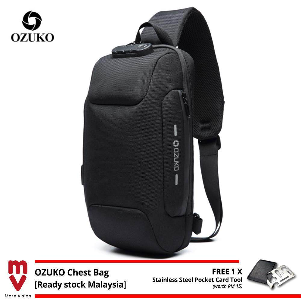 OZUKO Sling Bag USB Anti-Theft Men's Chest Beg with Password Lock New Casual Crossbody Shoulder Waterproof Oxford Cloth MI4991