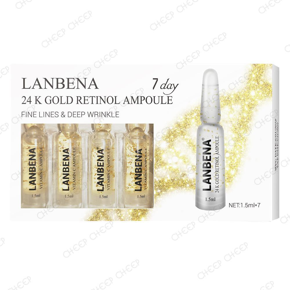 Lanbena 24K Gold Retinol Ampoule Concentrated Serum Anti-Aging Lifting Firming Anti-Wrinkle 7 Day Intensive Treatment 1.5ml x 7 Ampoules
