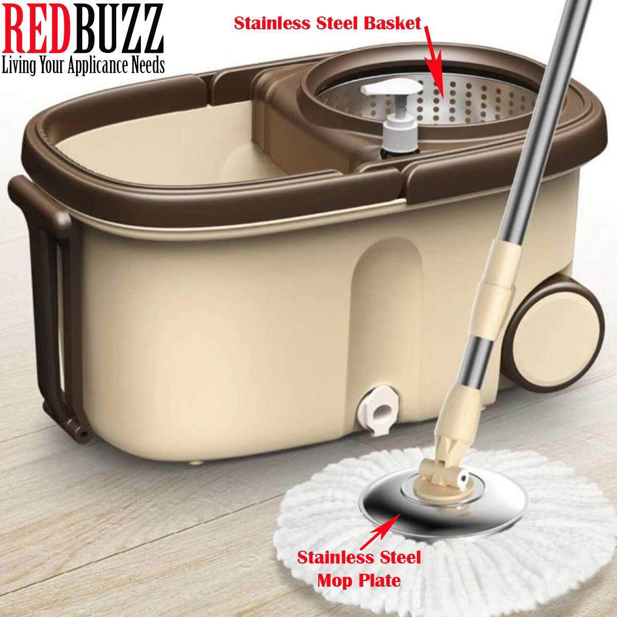 REDBUZZ Big Spin Mop Microfiber With Stainless Steel Basket Wheels + 2 Mop Heads