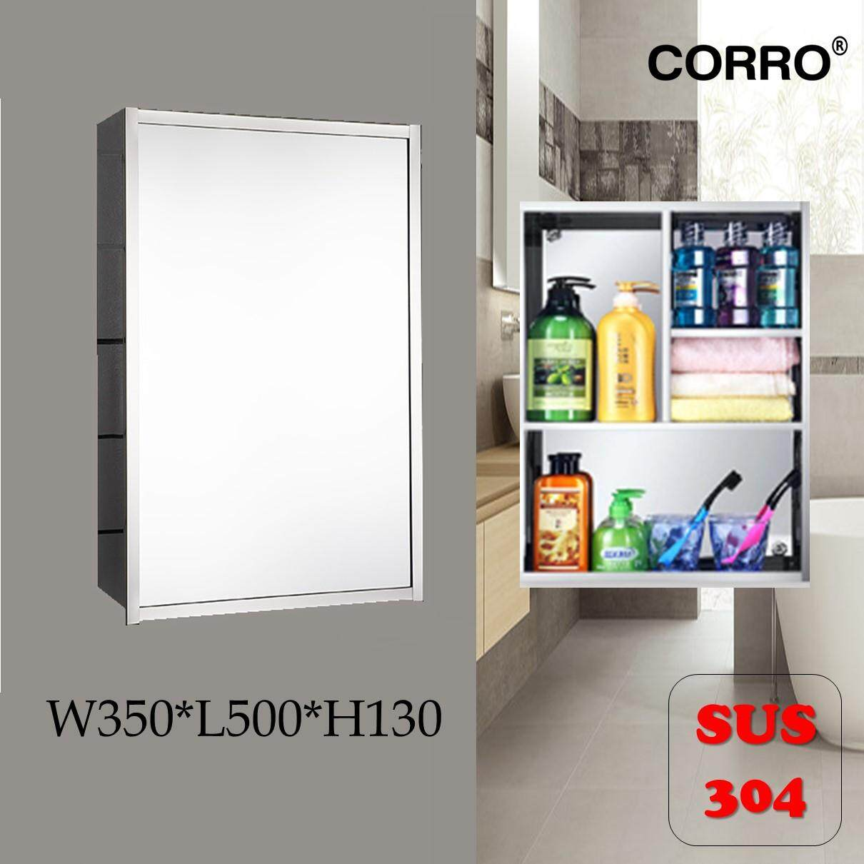 CORRO SUS304 100% Stainless Steel Bathroom Mirror Cabinet - L350 x H500 x W130