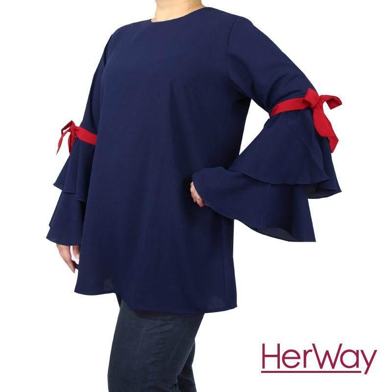 HERWAY PLUS SIZE Ladies Bow Accent Statement Sleeve HW9049 (Navy)