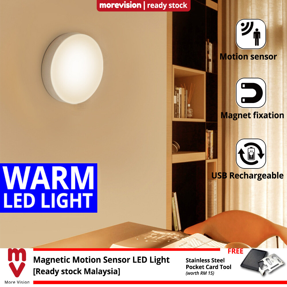 Motion Sensor Bed Light LED USB Rechargeable Magnetic Easy Install for Kitchen Living Room Bathroom Wardrobe - Warm Light