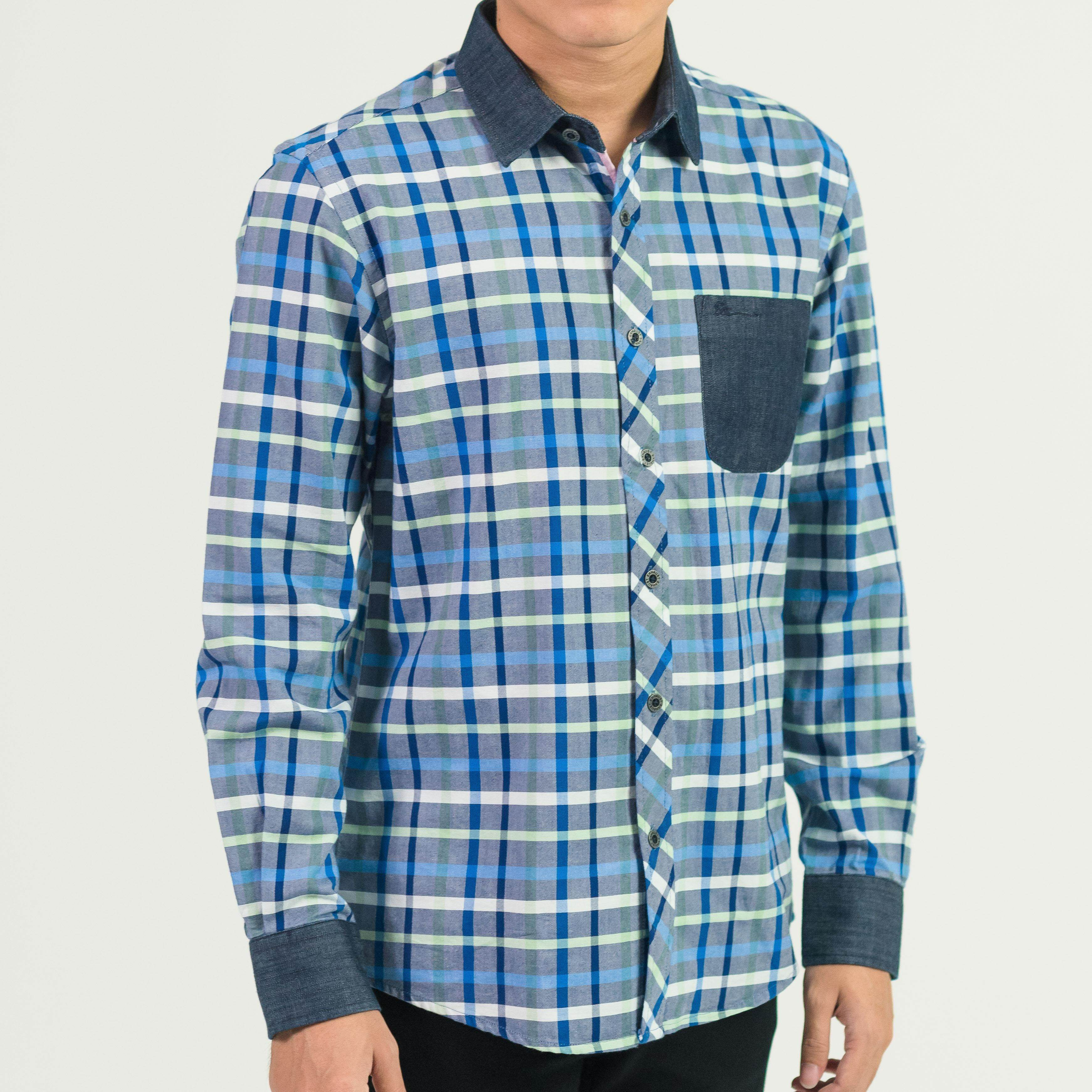 MEN'S SHORT SLEEVE CHECKED SHIRT WITH POCKET B79-40389#3
