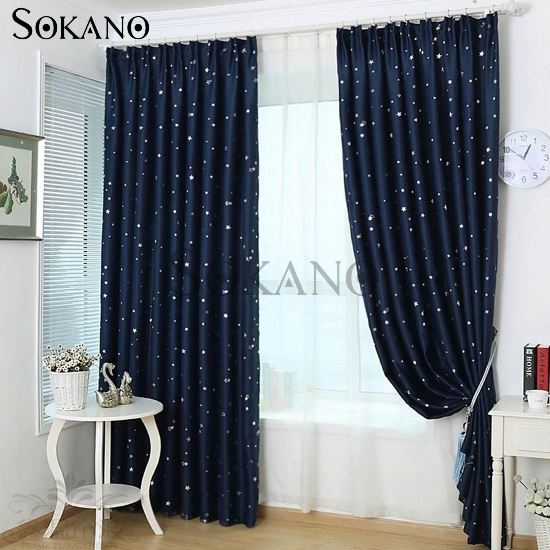 SOKANO CT020 Premium Blackout Curtain 1 Panel (200cm x 270cm)- Dark Blue Star Design