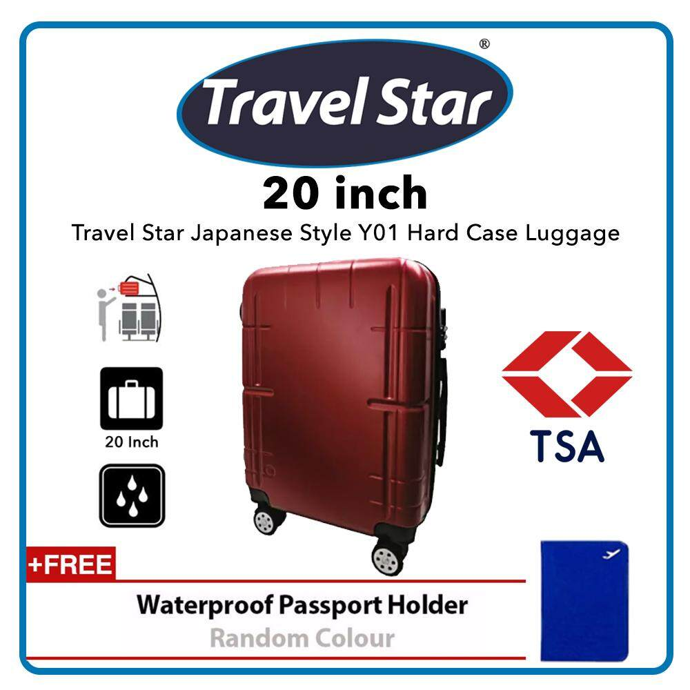 Travel Star Japanese Style Y01 20 Inches Hard Case Luggage Bagasi TSA - Dark Red