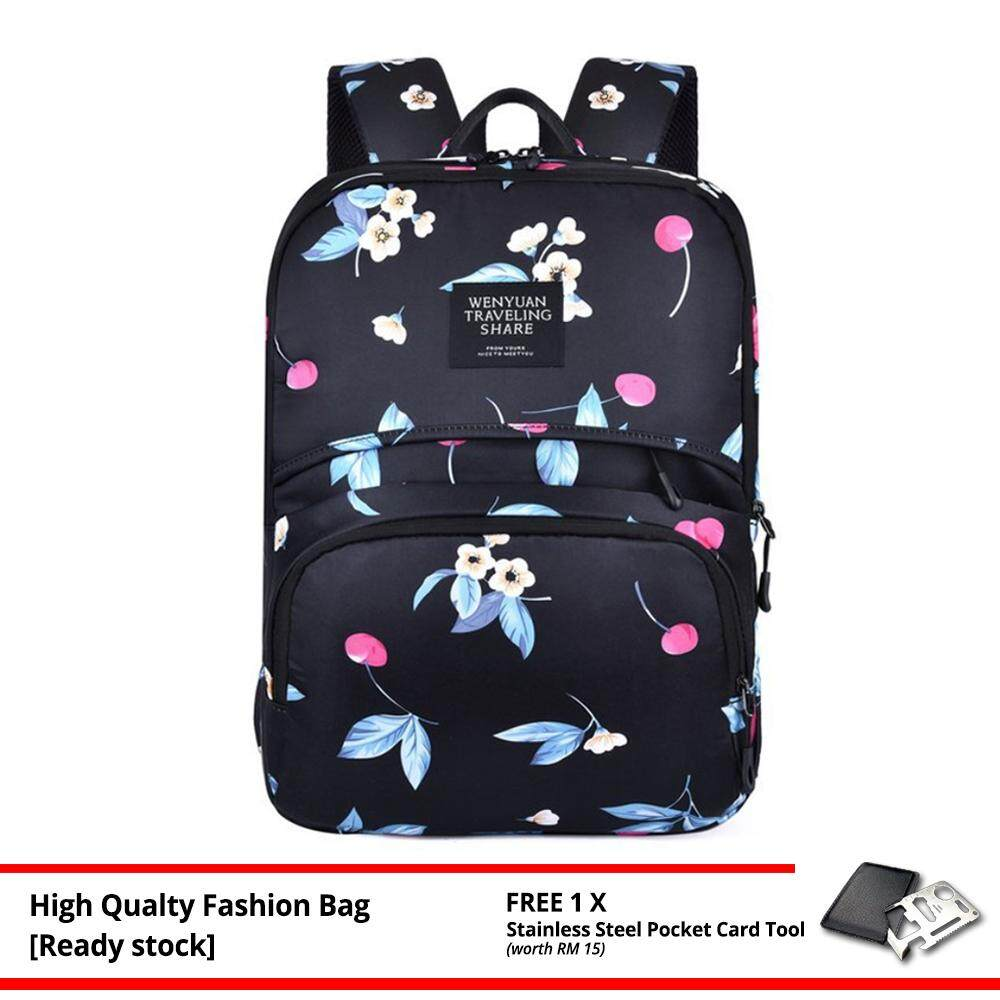 MV Bag Canvas Flora Women Backpack New Fashion Laptop Beg Light Weight Travel Casual Outfit -MI4351