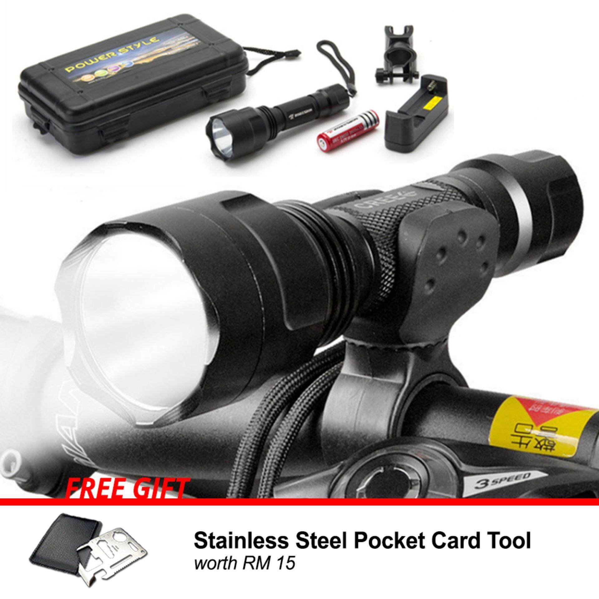 [Attractive Free Gift!] Ori Robesbon Bicycle LED Torch Light+Holder Free Rechargeable Battery - RB0341