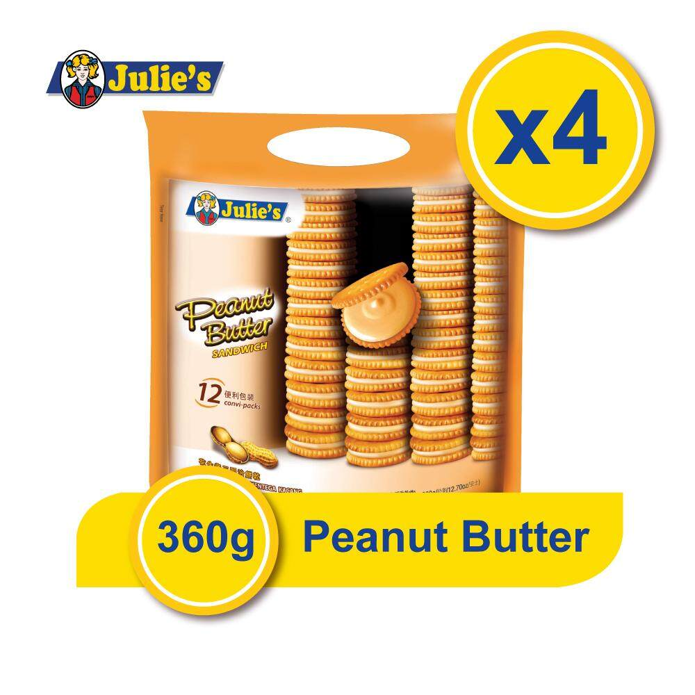 Julie's Peanut Butter Sandwich 360g x 4 packs + Free 5 pack Convi pack Biscuit