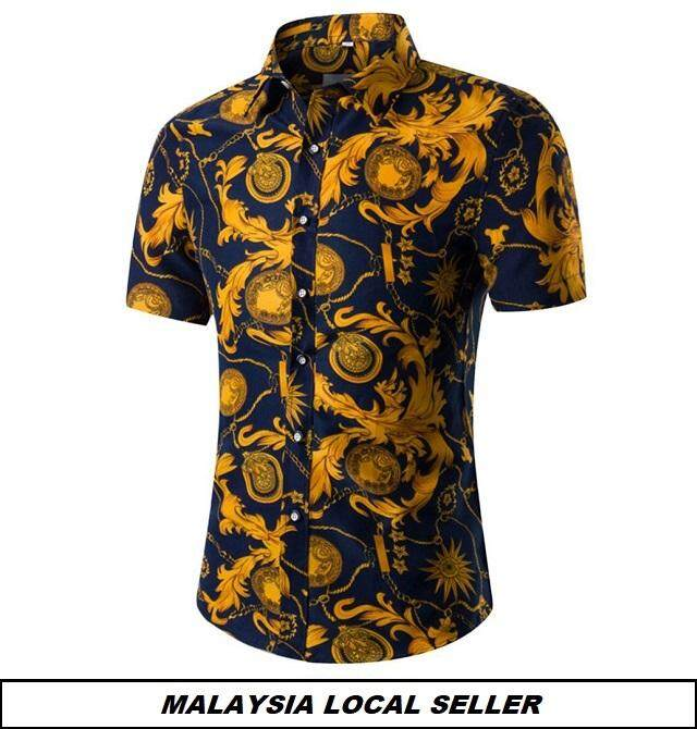 [Local Seller] Code-25 Men Summer Shirt Short Sleeve Kemeja Batik Songket Lelaki