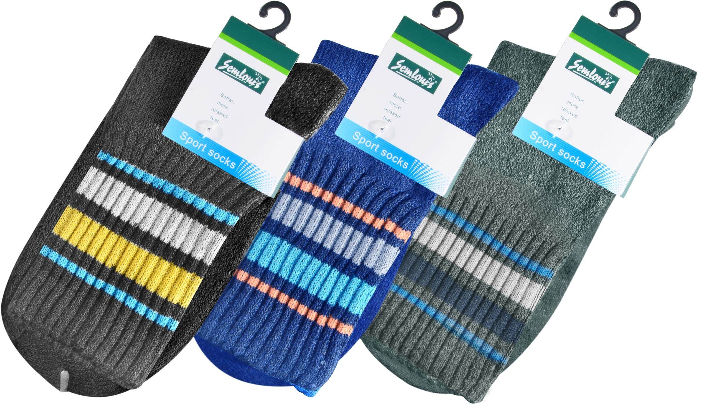 Semlouis Sport Quarter Crew Cushion Socks - Basic Design with Lines / PAIR