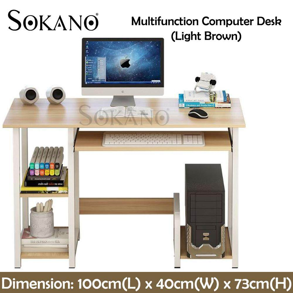 SOKANO N26 Multifunction Computer Desk Wood PC Table Study Table With 3 Drawers For Home Office Table Workstation