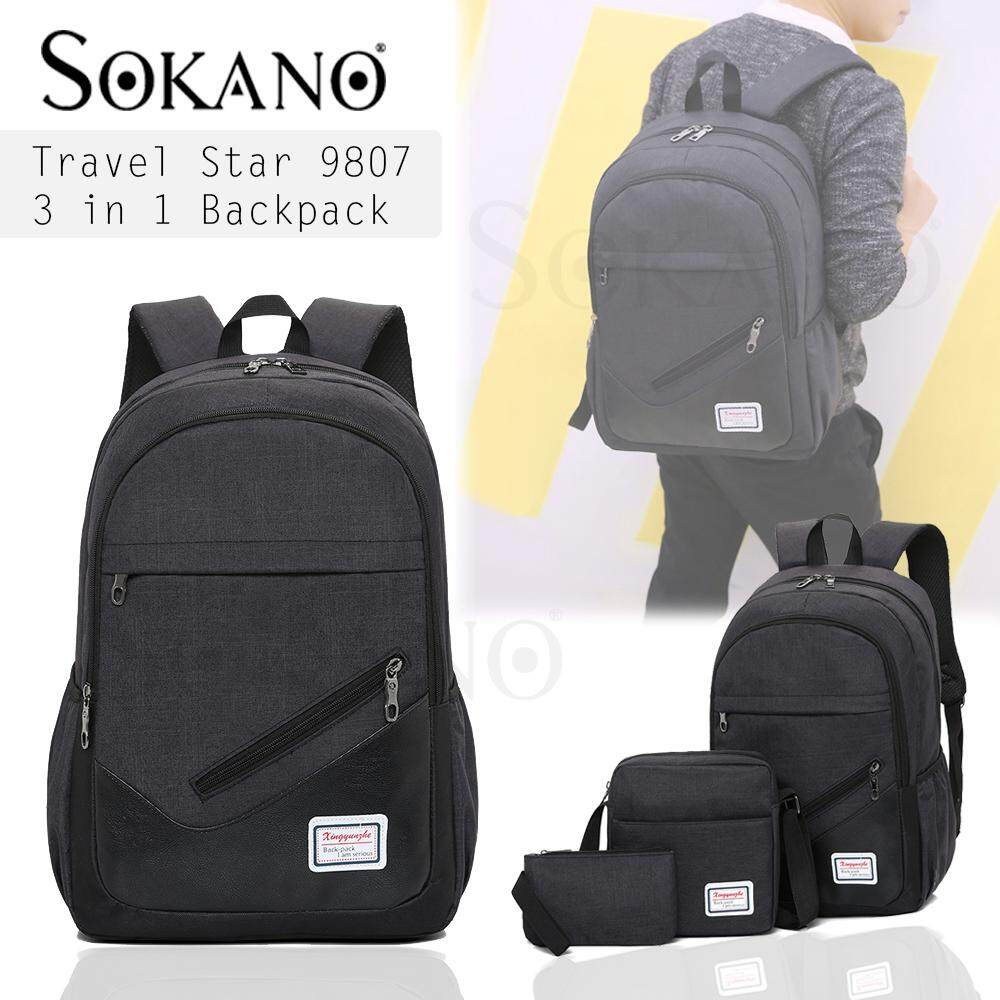 Travel Star 9807 Korean Style 3 in 1 Canvas Men beg lelaki Set College Travel Study Unisex Backpack