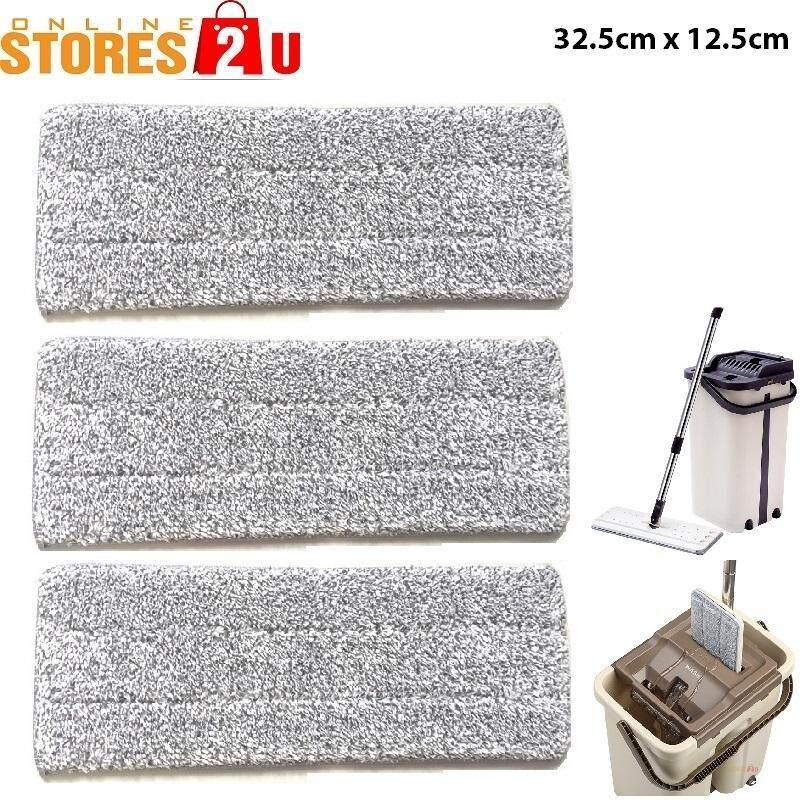 3pc [Stores2u] Replacement Microfiber Mop Head Refill Pad for 2in1 Self-Wash & Squeeze Dry Space Saving Flat Mop (32.5cm x 12.5cm)