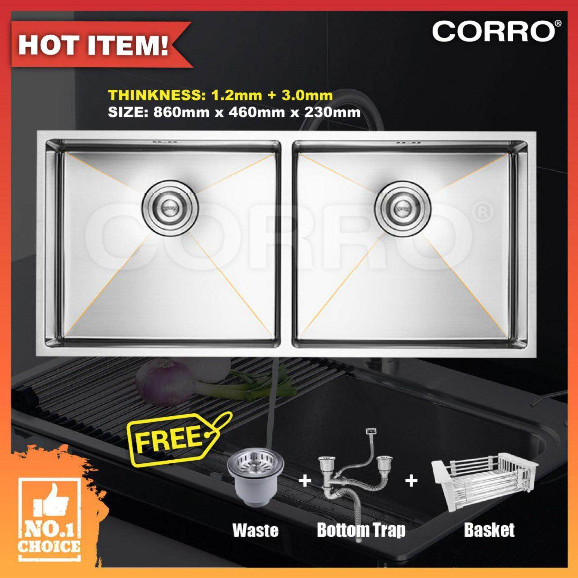 CORRO High Quality SUS304 Double Handmade Kitchen Sink-(CCH86461-31D)