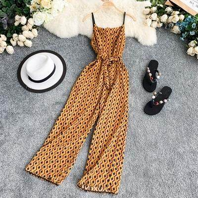 ?PRE-ORDER 21 DAYS? Chiffon print V-neck sleeveless waist with wide-leg long jumpsuit