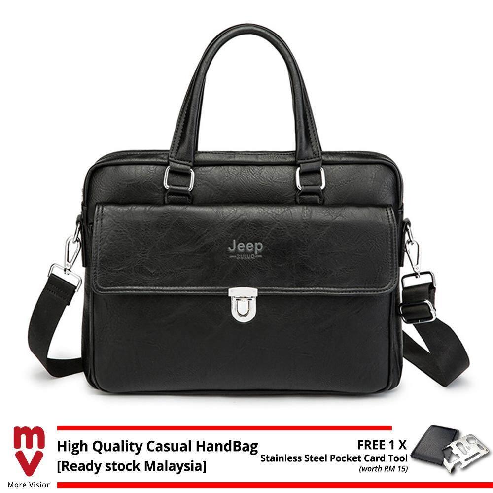 Jeep Buluo Men Handbag Business Vintage Briefcase Leather Sling Shoulder Messenger Bag Shoulder Laptop Beg Purse Wallet MI5471
