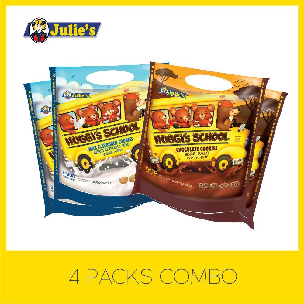 Julie's Huggy's School Choco/Milk Cookies Combo x 4  Packs + Free 5 pack Convi pack Biscuit