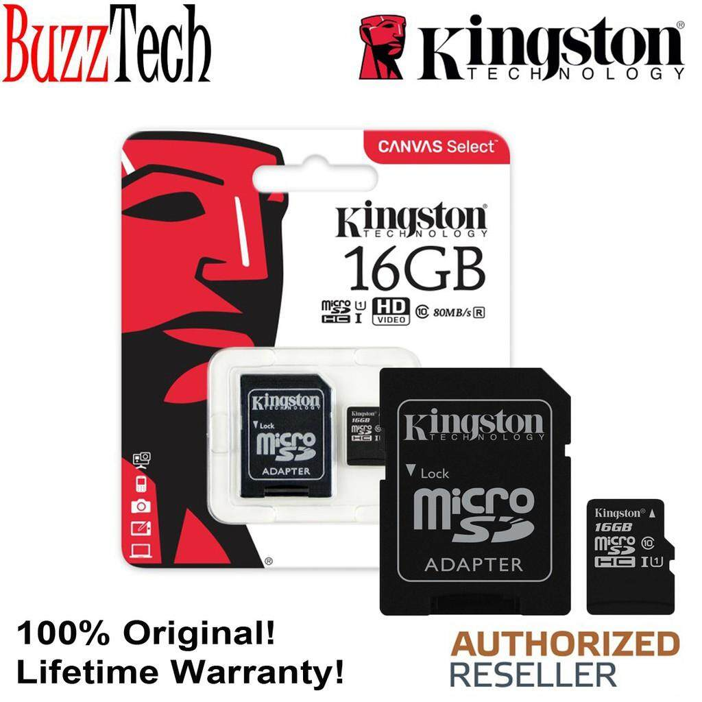BuzzTech Kingston Canvas Select 16GB 80MB/S Micro SDHC Class10 UHS-I Memory Card