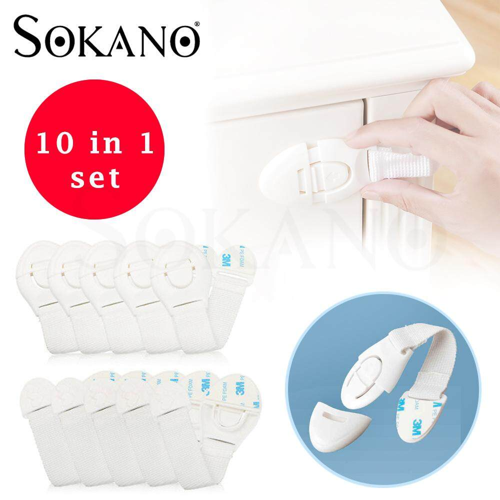SOKANO TC0798 Child Baby Cupboard Cabinet Safety Locks Proofing Door Drawer Fridge Locks Kid Safety (Bundle Set of 10 Pcs)