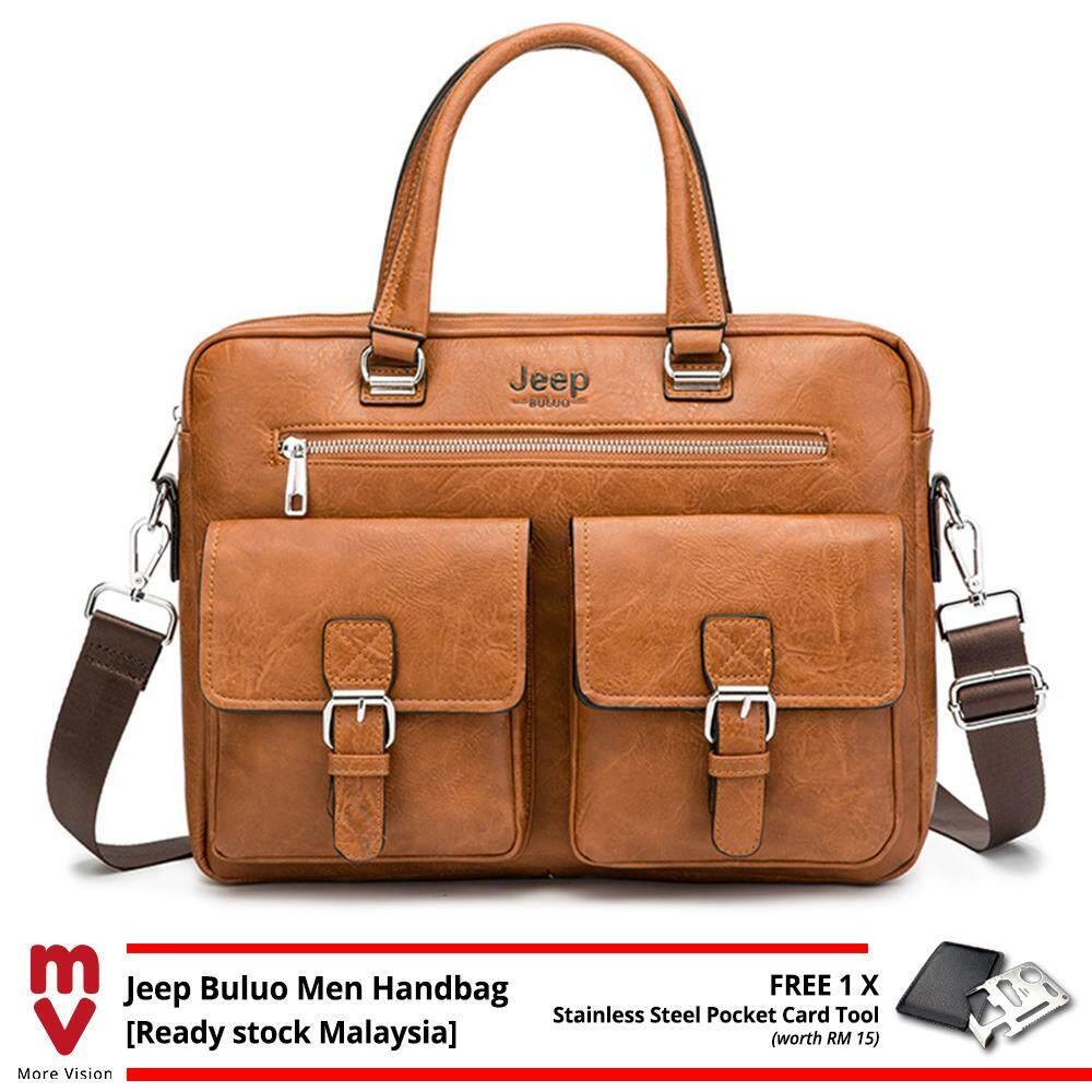 Jeep Buluo Men Handbag Business Vintage Briefcase Leather Shoulder Sling Messenger Bag Shoulder Laptop Bag Purse Wallet MI5483