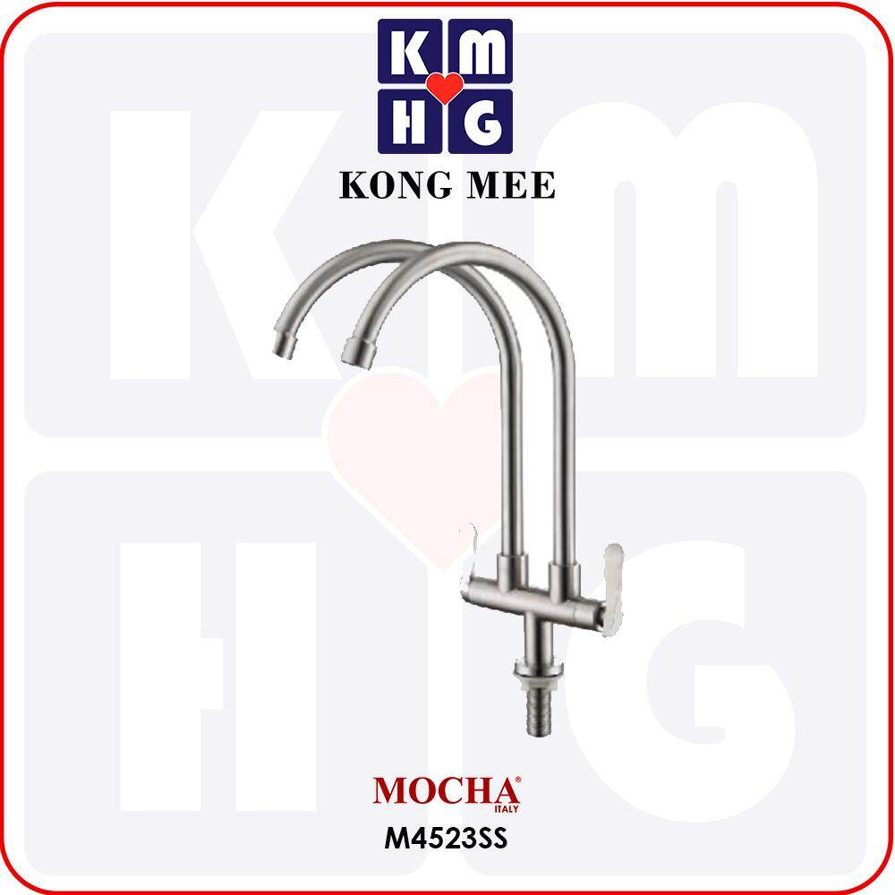 Mocha Italy - Pillar-Mounted Double Tap (Counter-top Basin Faucet) (M4523SS)  High Quality Premium Pipe Kitchen Top Counter Home Restaurant Wash Dishes Cooking Luxury