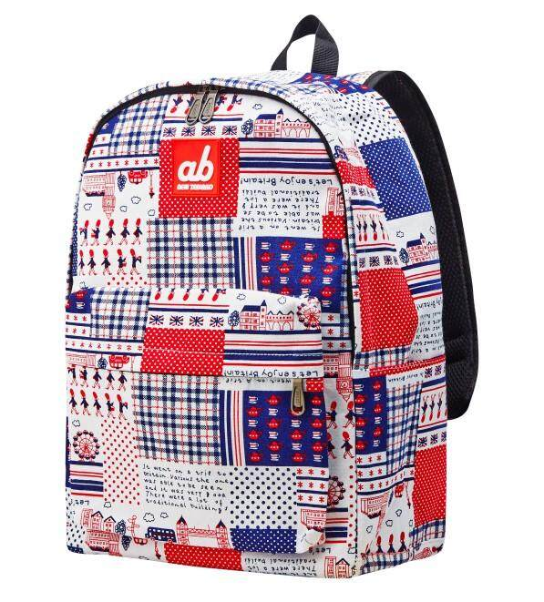 ab New Zealand Extra Spacious Kids School Canvas Backpack (Britain Retro)