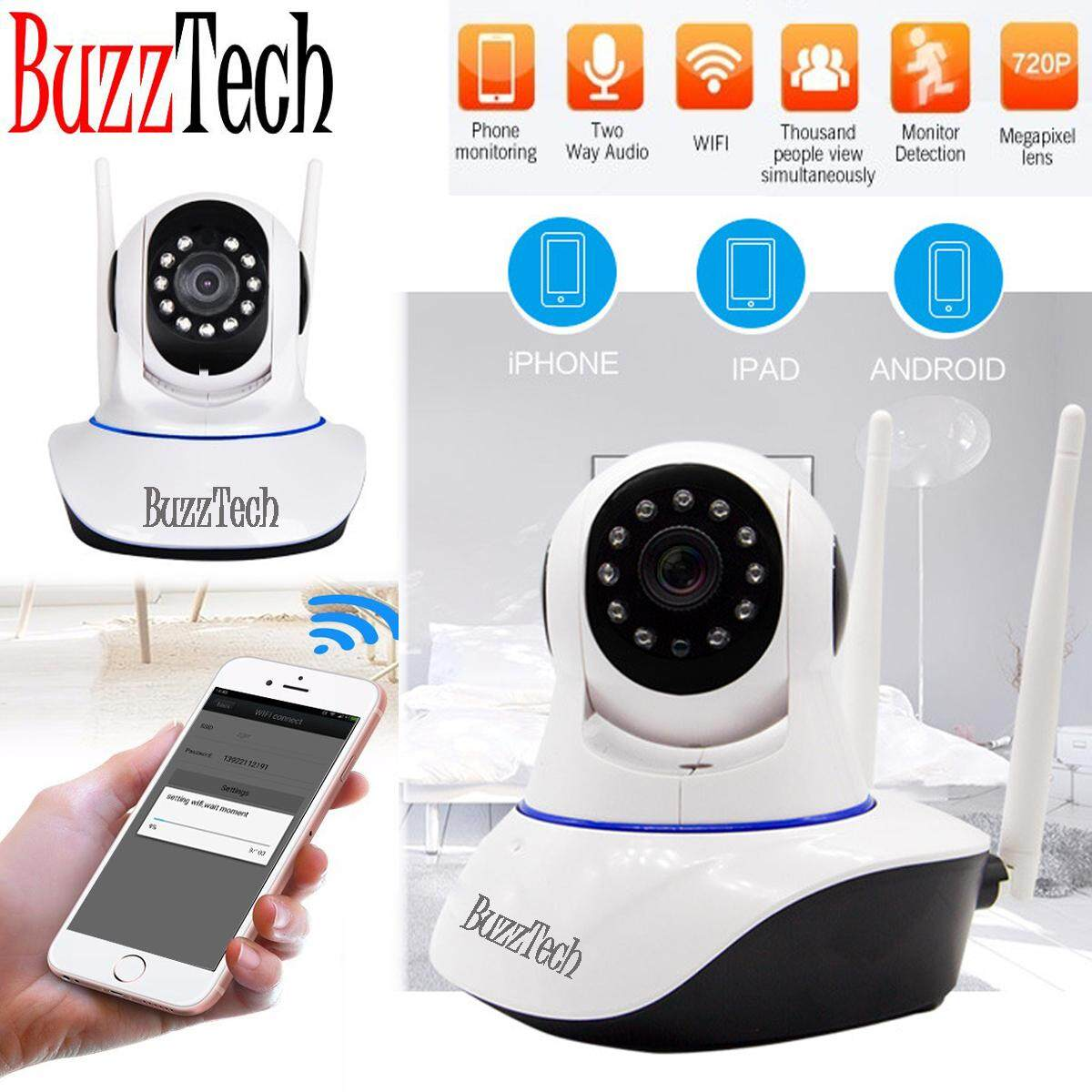 BuzzTech V380 LightBulb Double Antenna Design Smart Wifi Camera IP Security Camera Cam 720P HD Wifi CCTV Night Vision Baby Monitor Wireless IP infrared monitoring