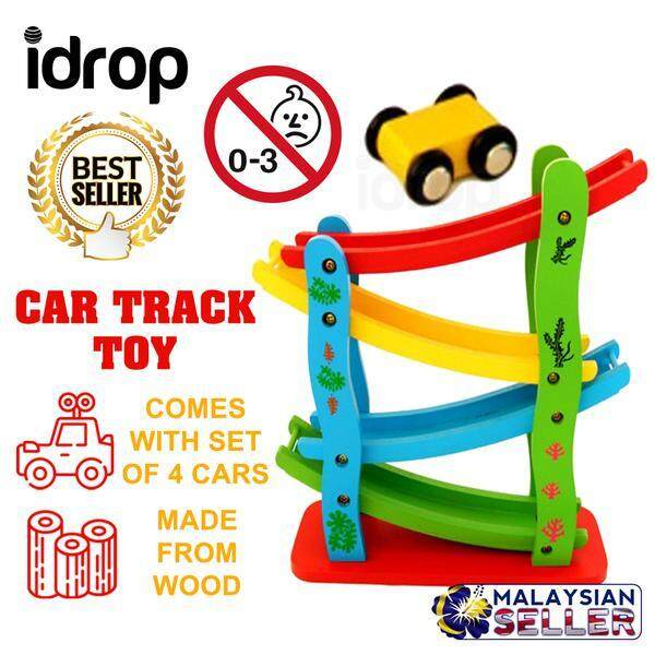 idrop 4-Level Wooden Ramp Racer Miniature Speeding Car Toy Set -