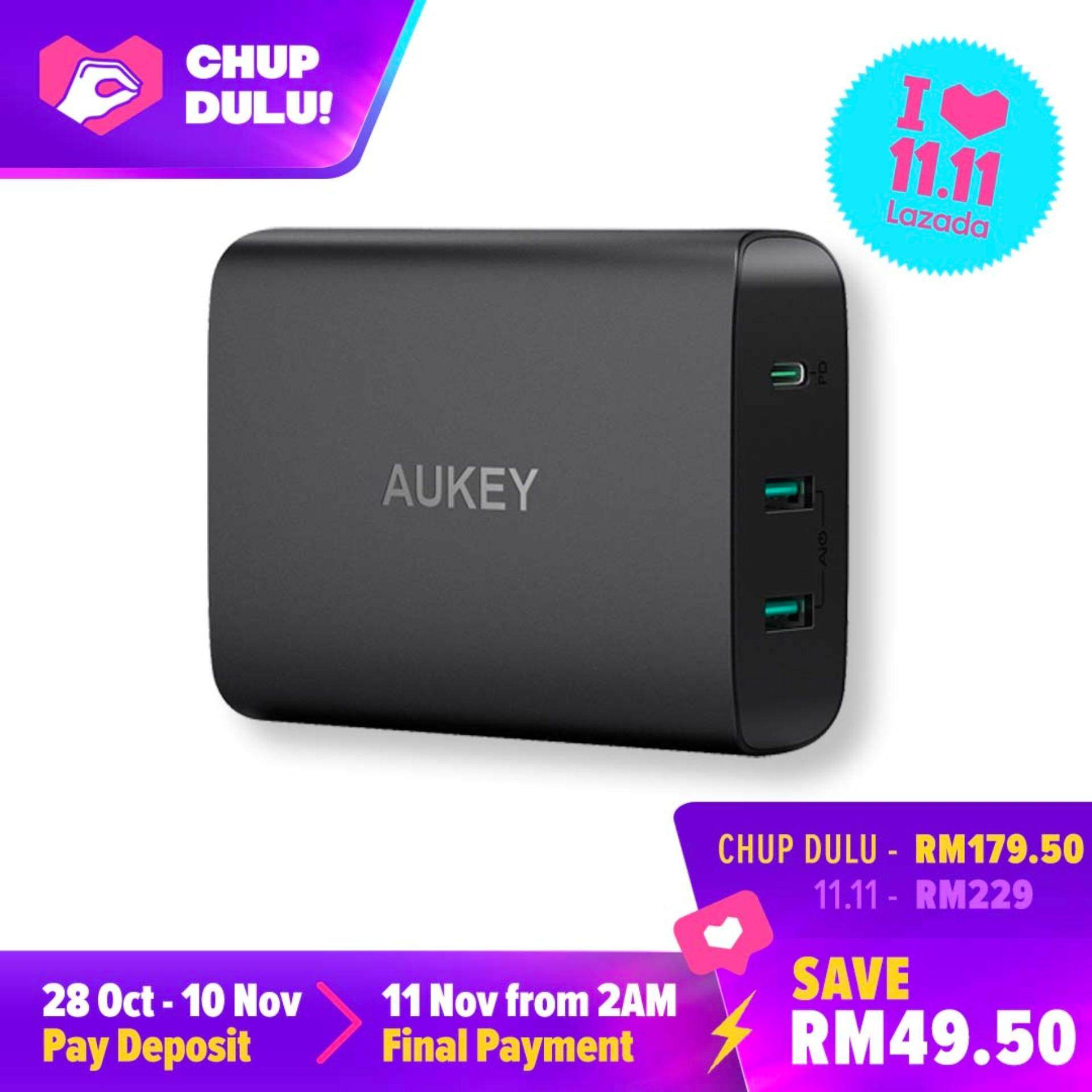 [11.11 CHUP DULU] Aukey PA-Y12 60W USB C Power Delivery 3.0 & Dual Port USB Desktop Charger