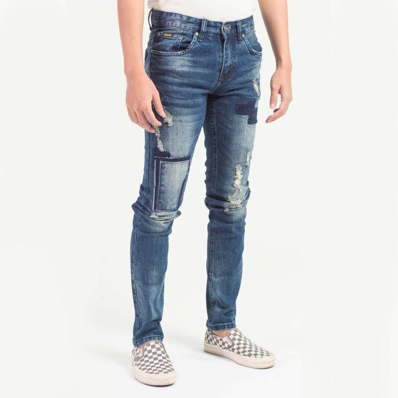 MEN'S FASHION DENIM LONG PANTS - Vintage Look Ripped Slim Jeans with Ribbed : B119-60554-TSK#1