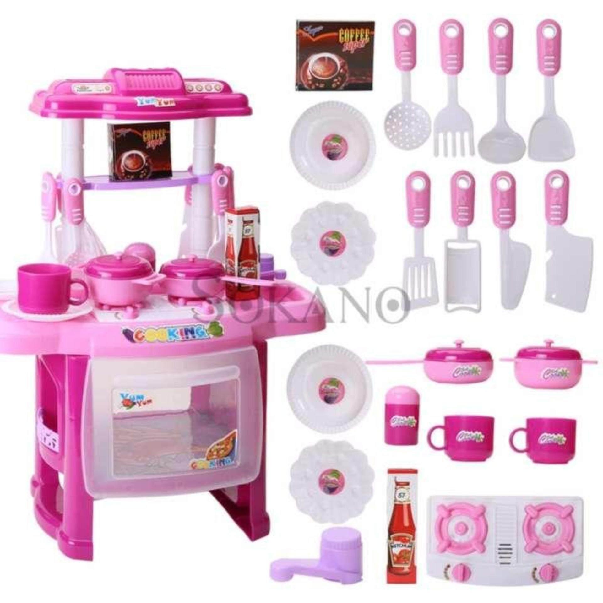 SOKANO Mini Kitchen Fun Playset With Full Utensils Set- Pink toys for girls