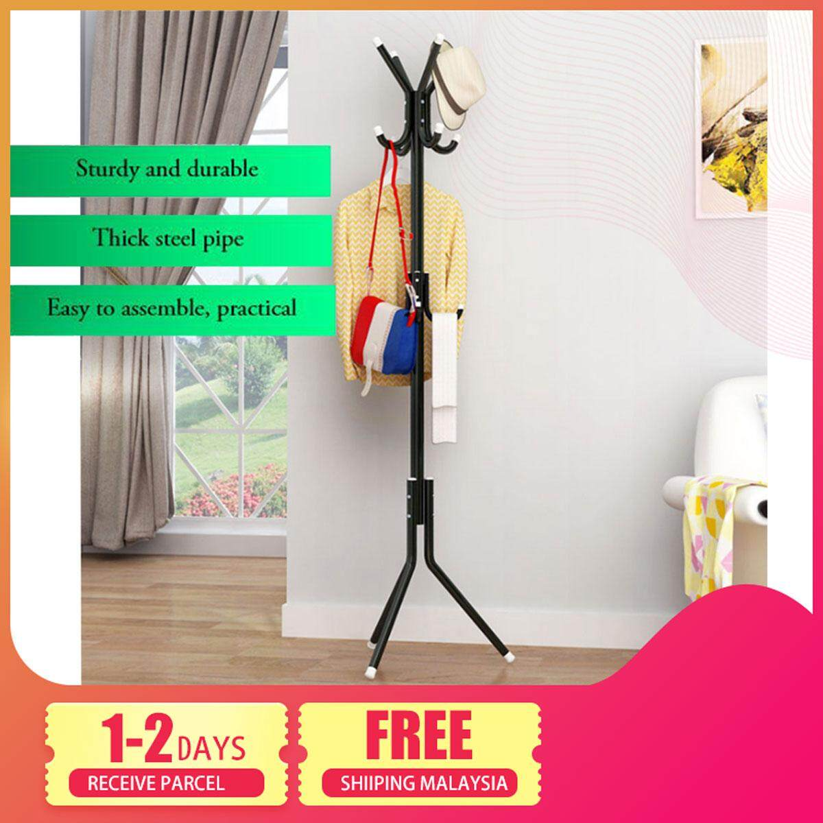 Delly Solid Metal Coat Hat Clothing Display Stand Rack Assembled Living Room Multi Hooks Hanging Clothes