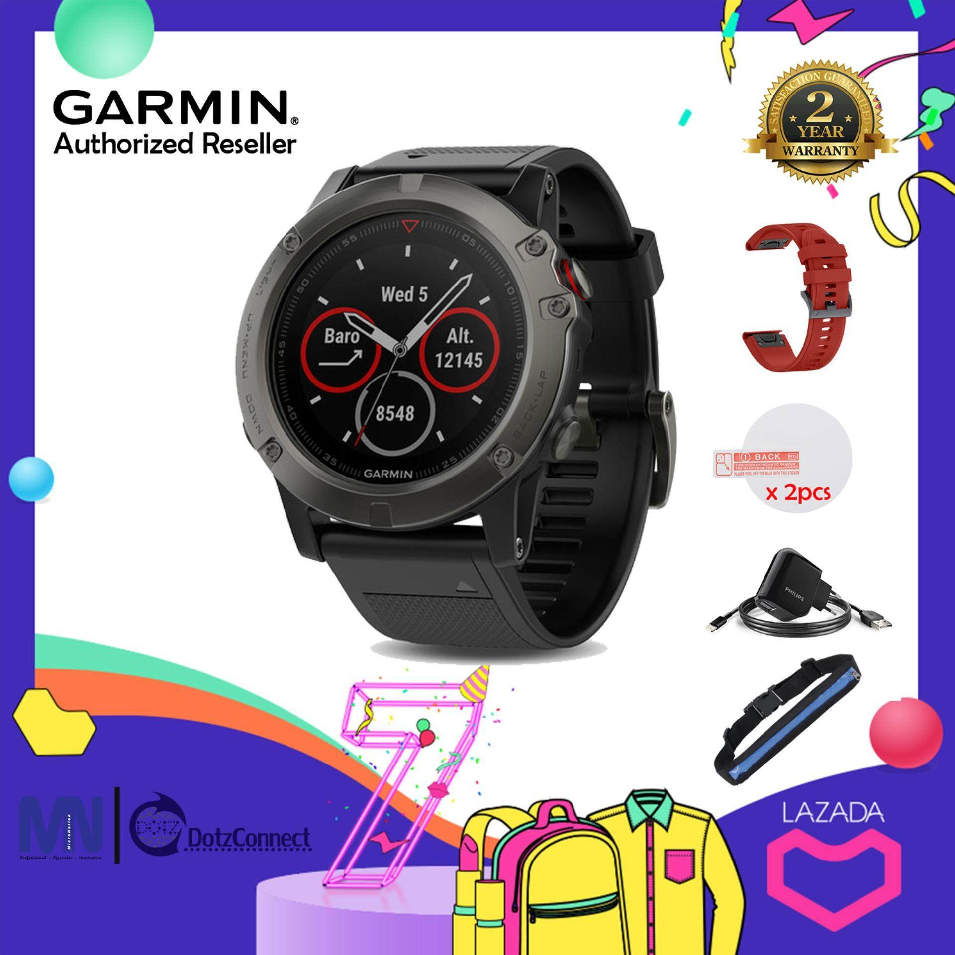 Garmin Fenix 5X Sapphire Slate Gray Multisport GPS Watch [Free] Philips Dual USB Car Charger with Micro USB Cable, Silicone Band, Silicone Cap, Silicone Case, etc Smart Watch