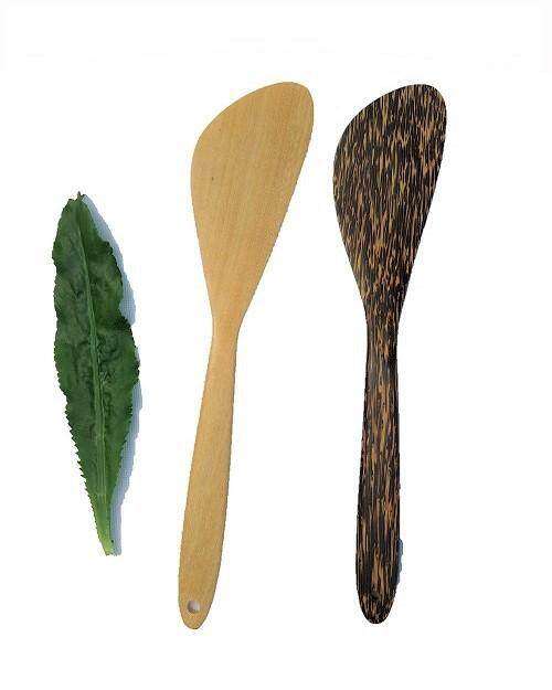 Twin Pack Natural Wood Spatula / Turner -  Curved