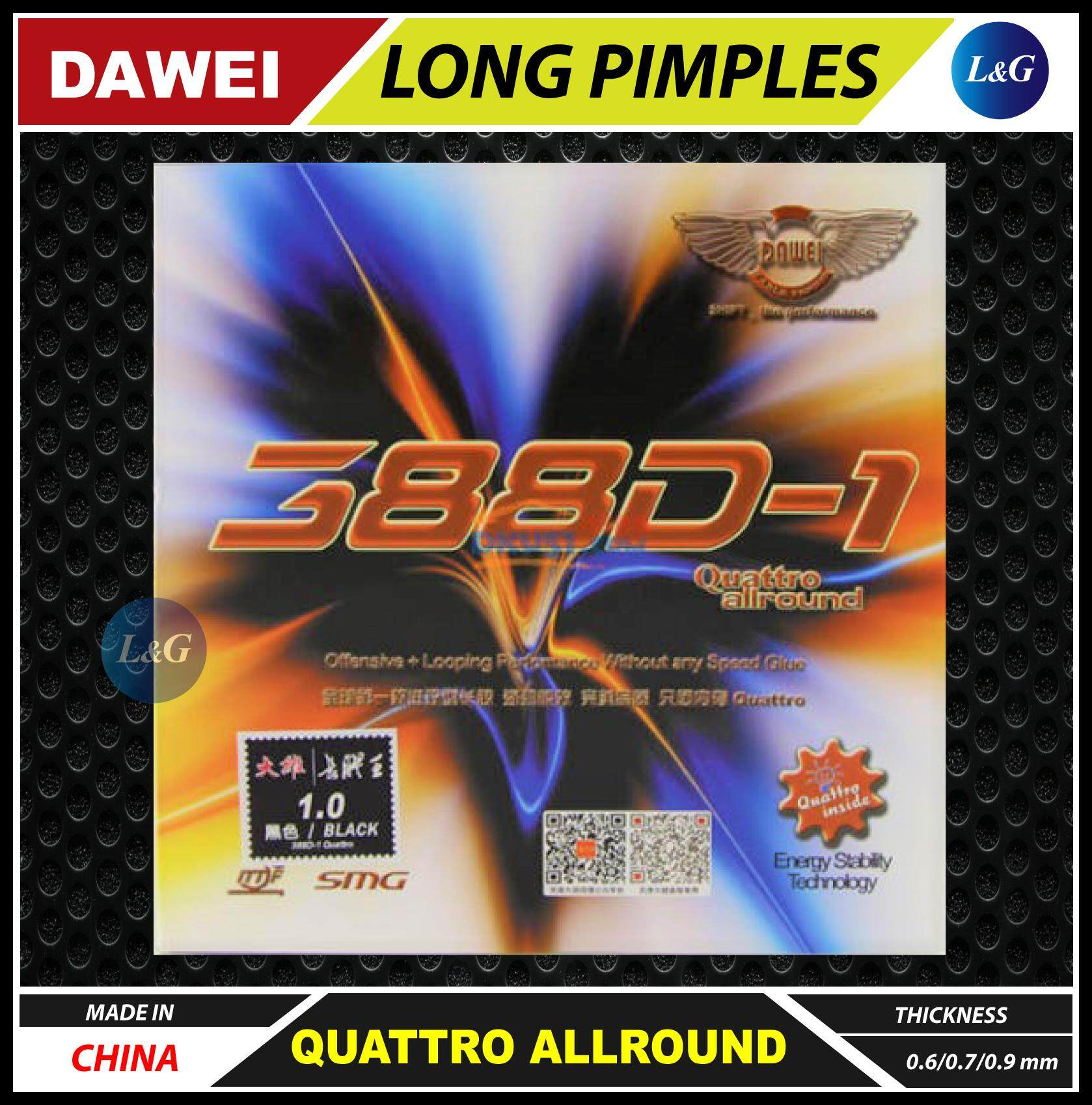 DAWEI 388D-1 Quattro Allround Long Pimples with Sponge Table Tennis Ping Pong Rubber Sheet 0.6mm / 0.7mm / 0.9mm Made In China ITTF Approved