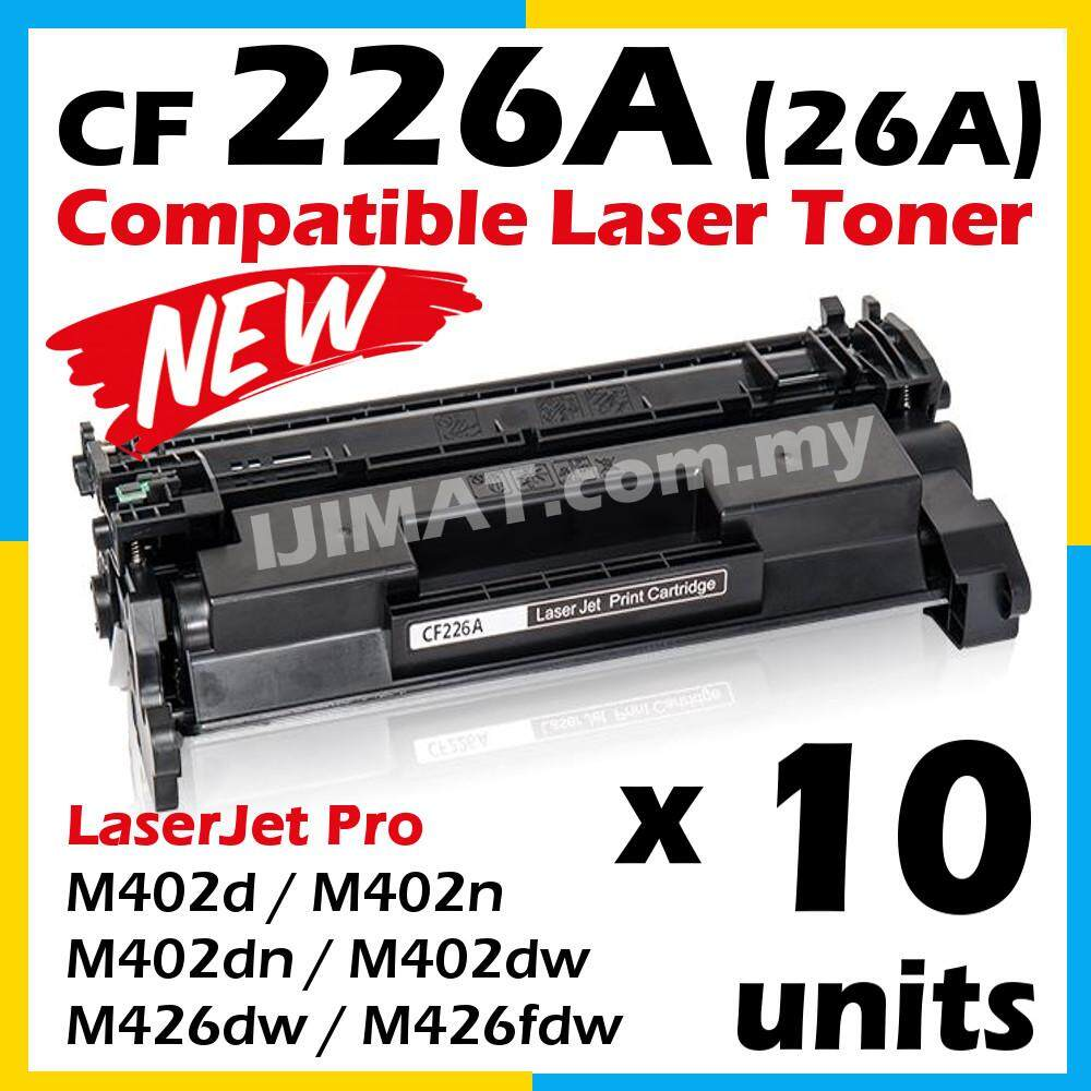 10 Units Compatible CF226A  / 26A / CF-226A High Quality Compatible Laser Toner Cartridge For LaserJet Pro M402d / M402n / M402dn / M402dw / MFP M426dw / MFP M426fdw Printer