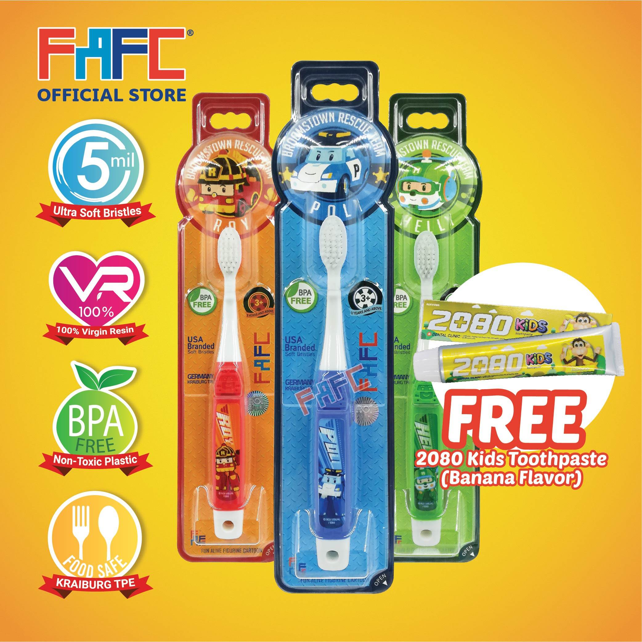 POLI ROY HELLY - (3 Pcs) FAFC Robocar Poli Hook Kids Toothbrush FREE 2080 Kids Toothpaste (Banana Flavor)