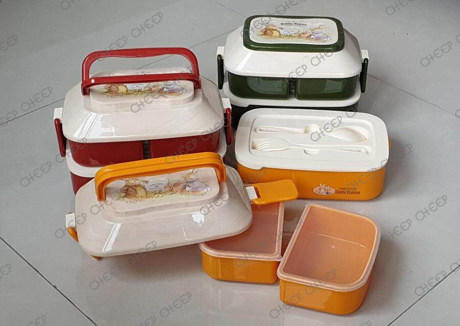 Bobby Rabbit Multi-Tier Lunch Box 3 Non Spill Individual Compartment Bento with Fork & Spoon BPA-free