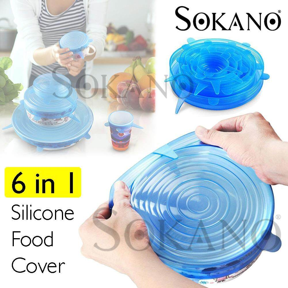 SOKANO 6 in 1 Silicone Food Cover Kitchen Reusable Silicone Stretch Seal Lid Preservation Vacuum Food Storage Bowl Cover