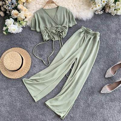 ?PRE-ORDER 21 DAYS? V-neck short T-shirt wide-leg pants two-piece suit