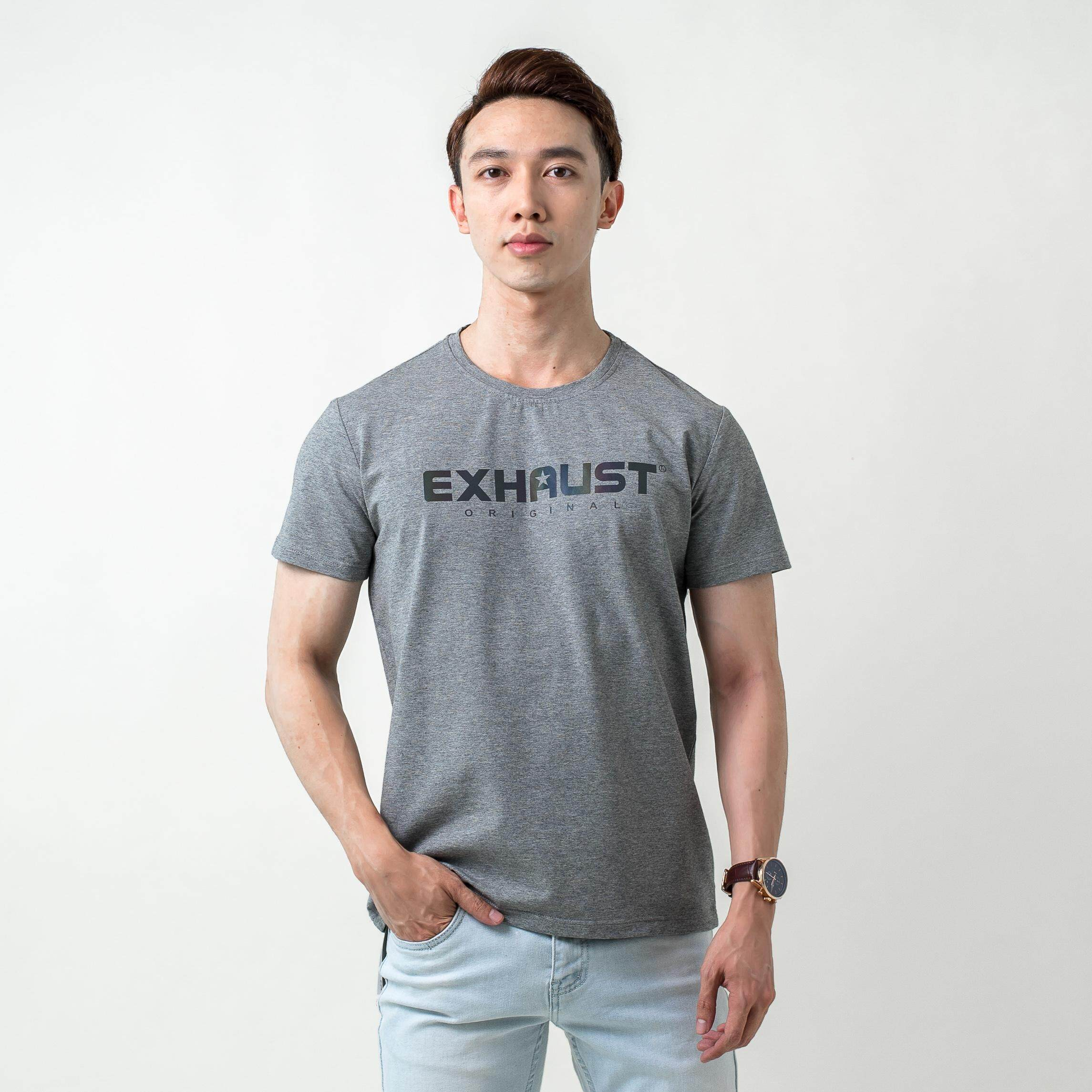 EXHAUST' BASIC PRINTED HOUSEMARK MEN'S SHORT SLEEVE ROUND NECK T-SHIRT