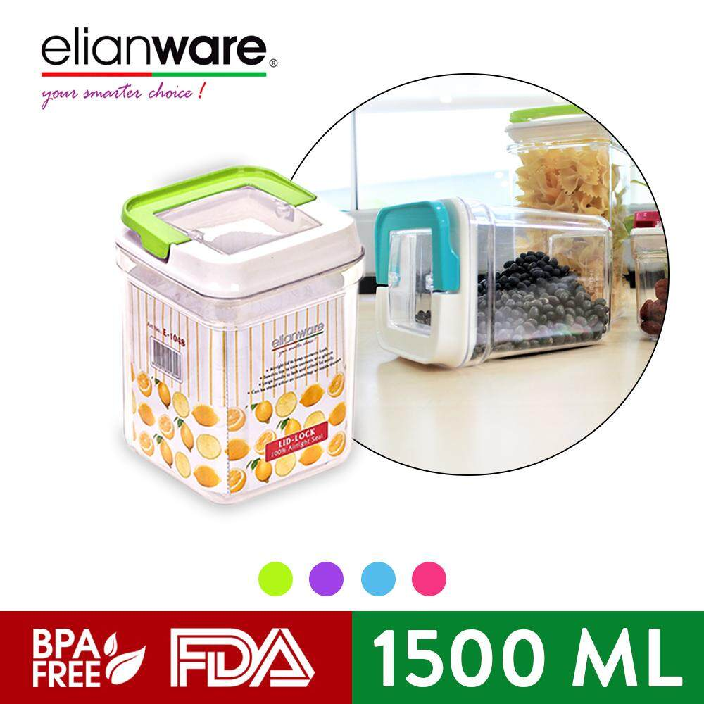 Elianware (3 Pcs) Elegant Glass-Like Air Tight Canister Clear Container Multipurpose Food Storage Milk Storage