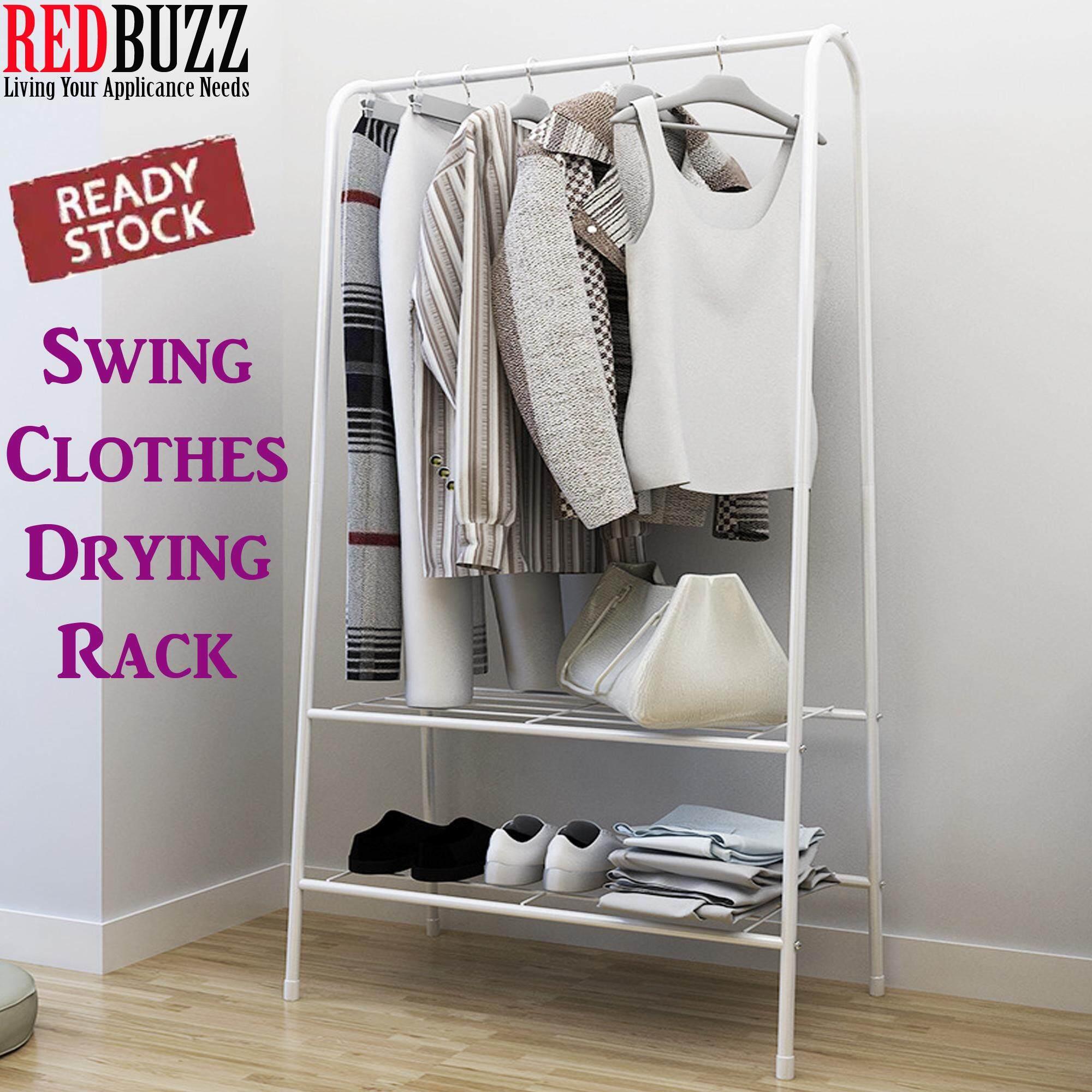 REDBUZZ Swing Clothes Drying Rack Household Bedroom Hanger Storage Cloth Rack /  Penyidai Baju Rak