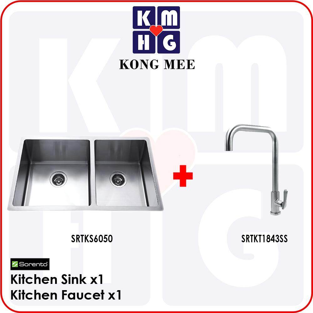 Sorento Italy - Camellia Series Double Bowl Undermount Kitchen Sink w/ Tap (SRTKS6050) Two Basin Stainless Steel 304 Handmade Low Noise Anti Rust Under Mount Modern Restaurant Home Kitchen Eating Food Cook Chef Wash Dishes Water Soap Tap Faucet Cleaning