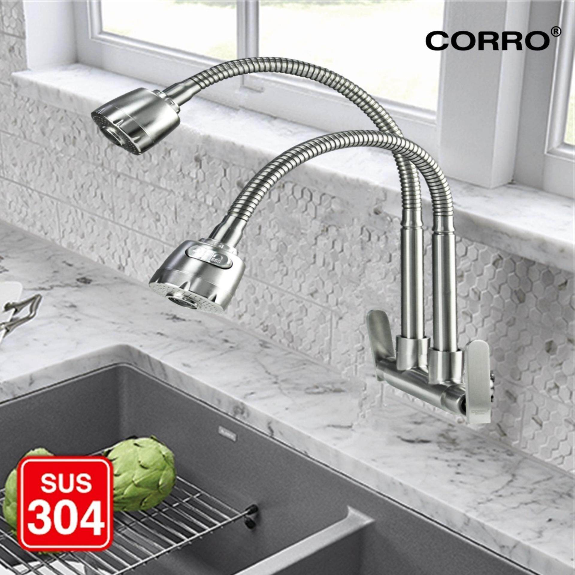 CORRO SUS304 Stainless Steel Twin Hose Flexible Swivel Kitchen Sink Wall Tap