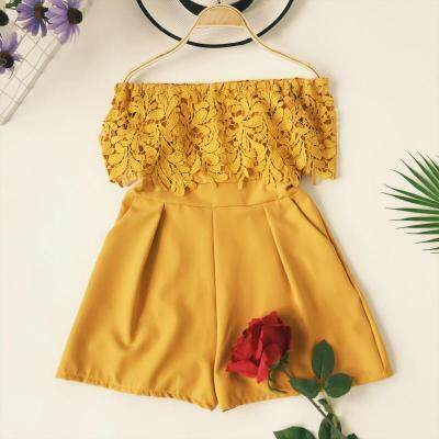 ?PRE-ORDER 21 DAYS? Off-the-shoulder lace stitching high-waist wide-leg jumpsuit