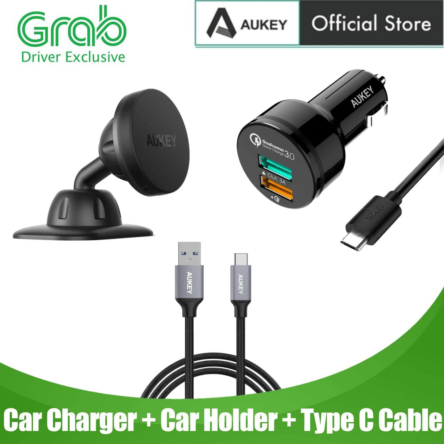 [GRAB DRIVER EXCLUSIVE] [3 IN 1 SET] Aukey CC-T7 Quick Charge 3.0 Car Charger With Type C Cable & Magnetic Car Holder